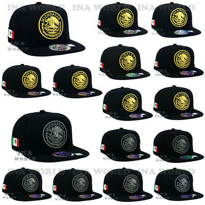 MEXICAN hat MEXICO Federal Logo State Snapback Flat bill Baseball cap-Black