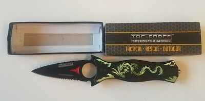 Tac Force Spring Assisted Collection Series Green Dragon Aluminum Handle Knife