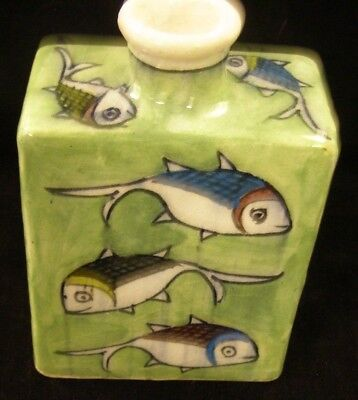 Ceramic Fish Bottle or Vessel with green background & 12 fish