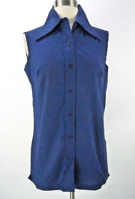 Vintage 70s Navy Blue Sleeveless Shirt Top Size M Sears Layering Big Collar Long