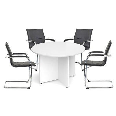 Meeting Table with 4 Essen Chairs Bundle - White
