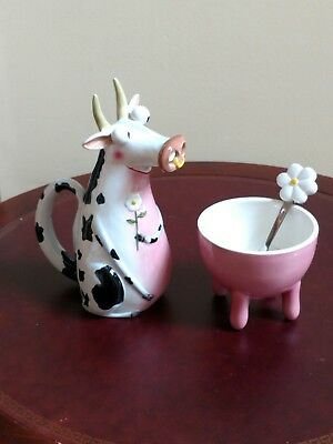 DEPT 56 cow cream pitcher udder sugar bowl & spoon set CLARE MACKIE BEE HAPPY