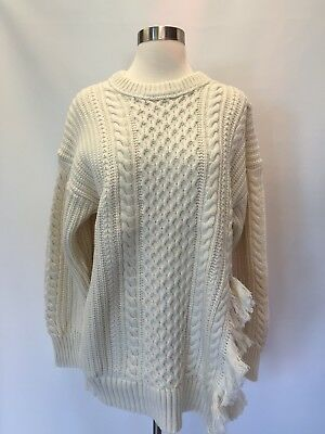 7ef570cff46d4c New J.Crew Cableknit Sweater With Fringe Oversize Ivory Sz S Small H3677  $118.00