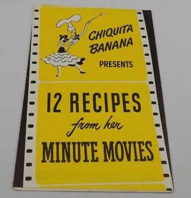 Chiquita Banana 12 Recipes from Her Minute Movies Vintage Promotional Brochure