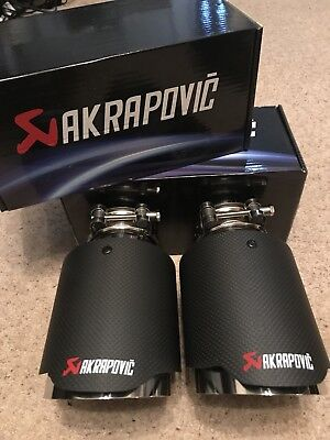 "2 X Universal 3.5"" Akrapovic Style Dry Carbon Fibre Exhaust Tip Tailpipe Steel"