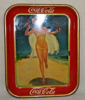 Vintage 1937 Coca-Cola Serving Tray - Girl Running on Beach