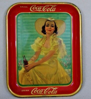 Vintage 1938 Coca-Cola Serving Tray - Girl at Shade/Girl in the Afternoon