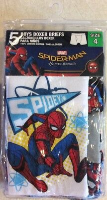 Pack of 5 Boys Size 4 Spider-Man Homecoming Boxer Briefs Marvel By Handcraft NWT