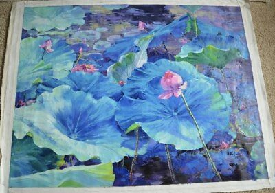 """""""Pond at Peace"""" by Tian Lu. Original Oil Painting on Canvas. Hand signed, dated."""