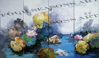 """""""Fragrant Lotus"""" by Tian Lu. Four Panel Original Oil Painting on Canvas. Signed."""