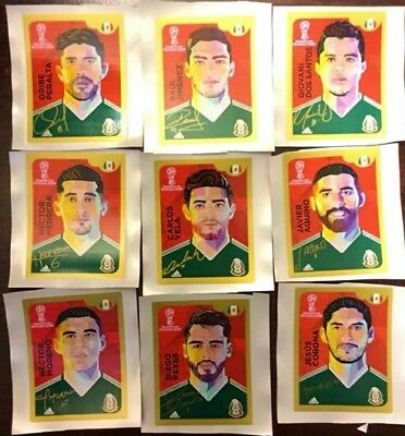 Panini World Cup Russia 18 Coca Cola set of 9 Stamps for Mexico Hard Cover Album