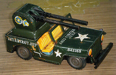 Vintage c1960's Tin Toy Friction Drive Anti-Aircraft Jeep - Toymaster Japan