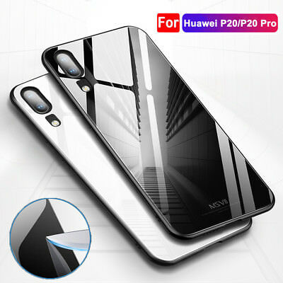 For Huawei P20 Pro/Lite Tempered Glass Back Case Soft TPU Bumper Hybrid Cover