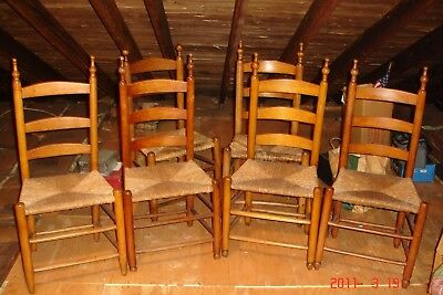 6 EARLY 1800's SHAKER STYLE THREE SLAT DINING ( side) CHAIRS ORIGINAL RUSH SEAT