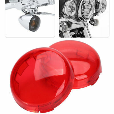 2Pcs Red Lens Turn Signal Light Cover Lens for Harley Davidson Dyna Sportster