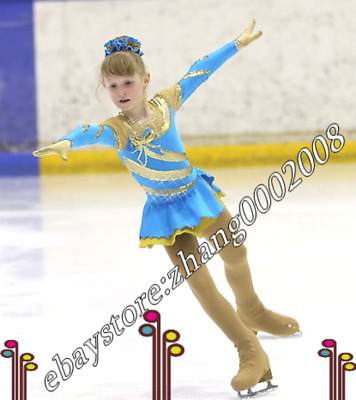 Lovely Ice skating dress.Blue Yellow Competition Figure Skating.Baton Costume