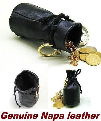 Old style Genuine Nappa Real Leather Coin Wallet Drawstring pouch purse money
