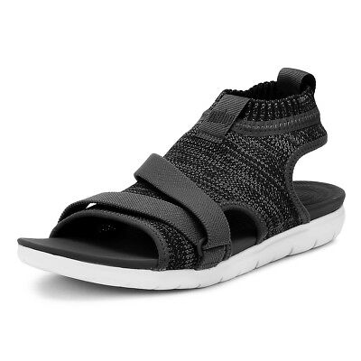 28b0e338e FitFlop Womens Black Uberknit Back-Strap Sandals Ladies Summer Casual Shoes