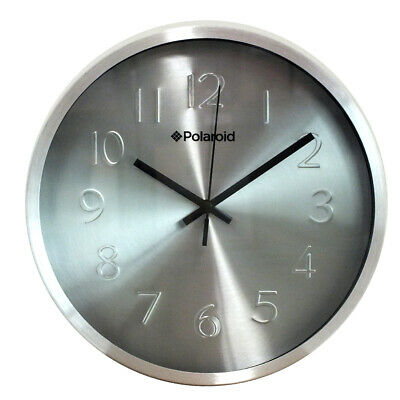 Polaroid 25.2Cm Quartz Retro Round Home Office Hanging Wall Clock  - Silver