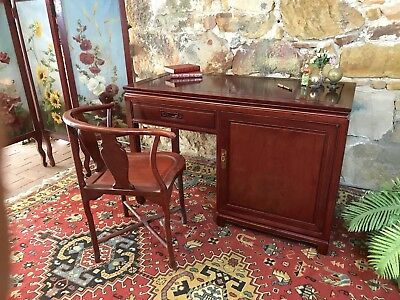 Stunning Vintage Oriental Solid Rosewood Desk~Drawers~Office Cabinet~Chinese