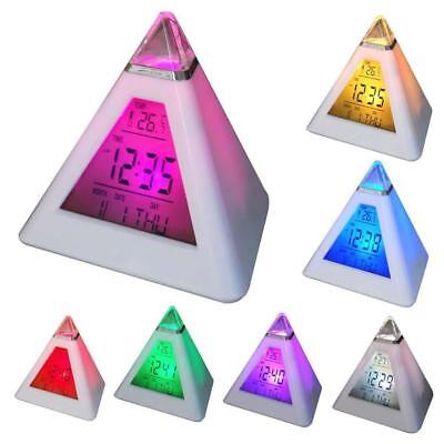 LCD Digital Pyramid Alarm Clock Desk Bed Thermometer Light 7 LED Colour Changing
