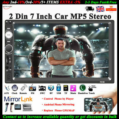 "7"" Touch Screen 2 Din Bluetooth FM USB/AUX/SD Stereo HD MP5 Player Car Radio"