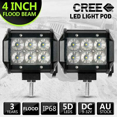 "Pair 120W 4"" inch Work Lights CREE Flood LED Light Bar Reverse 4WD 12V 24V"