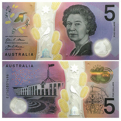 Australia 5 Dollars, 2016, P-New, UNC>New Design Blind Feature Clear Polymer