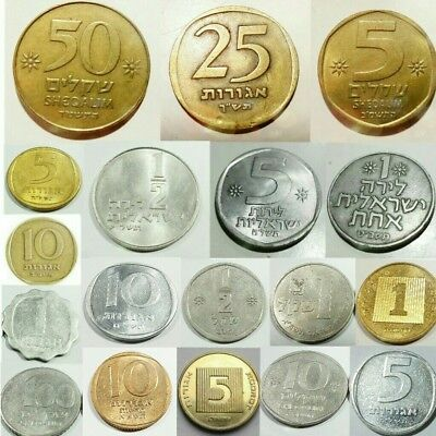 18 Different Israeli Coins Collection : Shekel Agora Lira israel lot Collectible