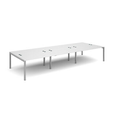 Connex triple back to back desks 1600mm deep - White - 4200 - Silver