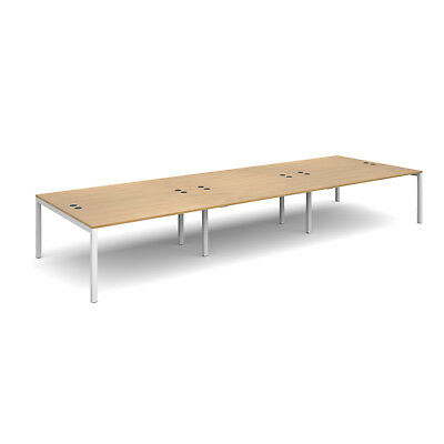 Connex triple back to back desks 1600mm deep - Oak - 4800 - White