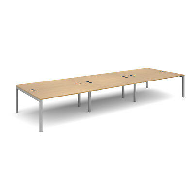 Connex triple back to back desks 1600mm deep - Oak - 4800 - Silver