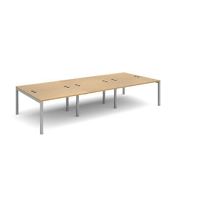 Connex triple back to back desks 1600mm deep - Oak - 3600 - Silver