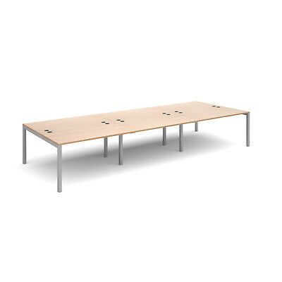 Connex triple back to back desks 1600mm deep - Beech - 4200 - Silver