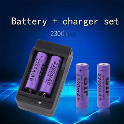 4pcs 14500 3.7V 2300mAh Rechargeable Li-ion Battery + Charger For Flashlight GA