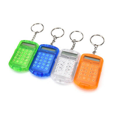 Cute Mini Keyring Pocket Calculator 8 Digits LCD Display Key Chain Travel Kid R4