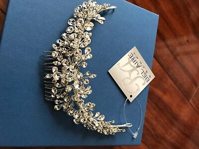 Bel Aire crystal bridal headpiece with comb. New with tags and packaging.