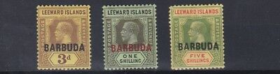 Barbuda  1922  S G 9 - 11   Values To 5/-  Mh  Cat £68