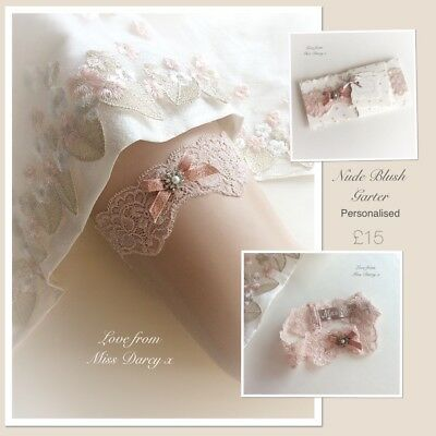 Bridal Garter Nude Blush Rose Gold Personalised Wedding Brides Hen Miss Darcy