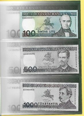 Lithuania 100, 500, 1000 Litas 1991-1994 Set in Folder UNC Banknotes