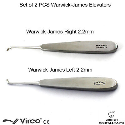 2PCS Warwick James Elevator Left Right Root Elevators Tooth Extraction Tools New