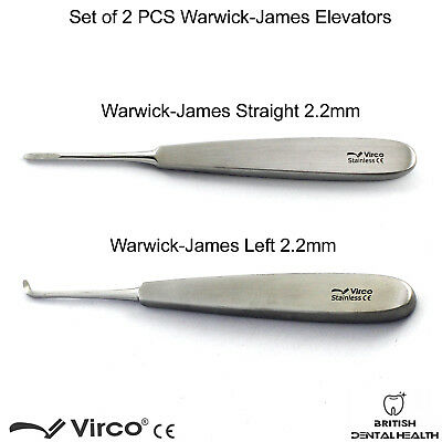 2PCS Warwick James Elevator Left Straight Root Elevators Tooth Extraction Tools