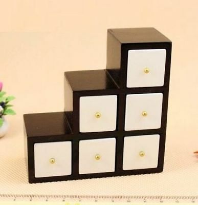 1:12 Dollhouse Miniature Doll Furniture Modern White With Black Wooden Cabinet #