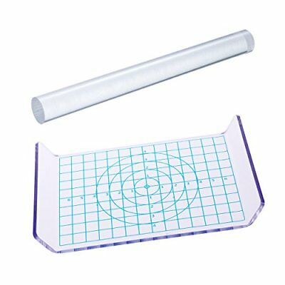 ULTNICE 2pcs Clay Rolling Pin Acrylic Clay Roller Acrylic Sheet Board with Grid