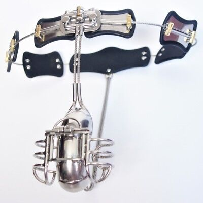 Male Chastity Device Belt Stainless Steel with extra cages, adjustment 60-135cm