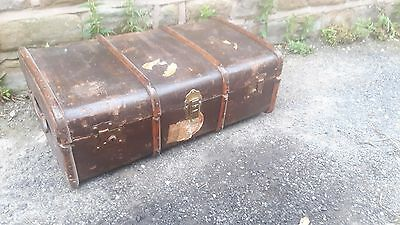 Antique Vintage Retro Wood Bound Storage Steamer Trunk Chest Old Luggage Case