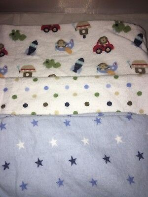 Garanimals Baby Receiving Blankets Lot Of 3 used-- stars, dots, toys vehicles