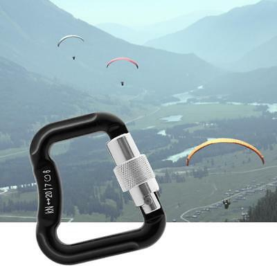 20KN Abseiling Paragliding Paraglider Auto Locking Carabiner Snap Hook Black