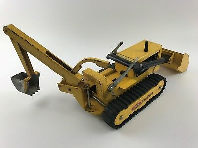 Vintage 1960's Tonka Trencher Front Loader Backhoe Yellow Pressed Steel Toy