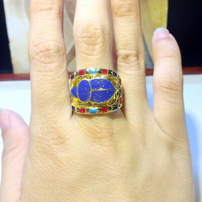 18K Gold Plated Sterling Silver Royal Scarab Egyptian Band Hand Made Enamel Ring